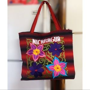 Hand made bohemian style embroidery tote bag